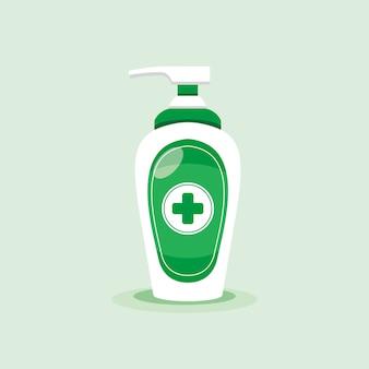 Desinfecção. garrafa desinfetante para as mãos, gel de lavagem. ilustração