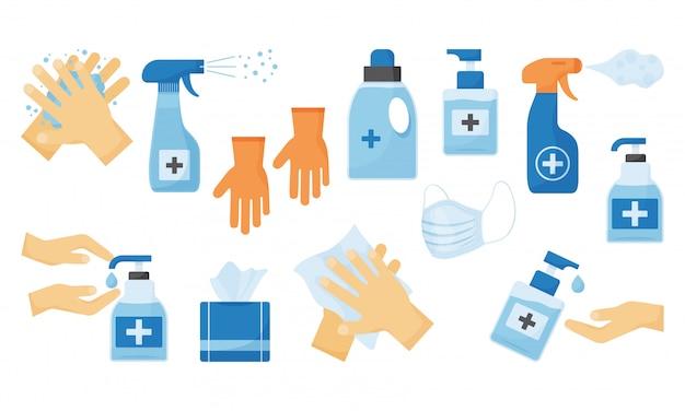 Desinfecção. higiene das mãos. ilustração