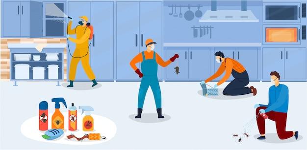 Desinfecção na cozinha, trabalhadores do serviço de controle de pragas de uniforme durante o processamento sanitário da cozinha com ilustração de sprays químicos de inseticida.