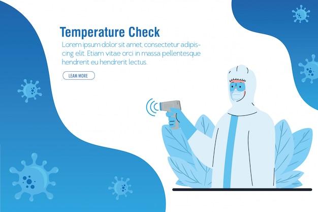 Desinfecção, pessoa em traje de proteção viral, com termômetro infravermelho digital sem contato