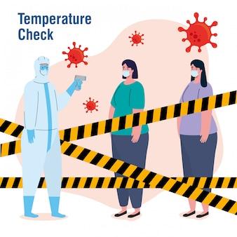 Desinfecção, pessoa em traje de proteção viral, com termômetro infravermelho sem contato, mulheres em temperatura controlada