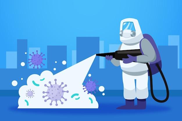 Desinfecção por vírus com traje de proteção