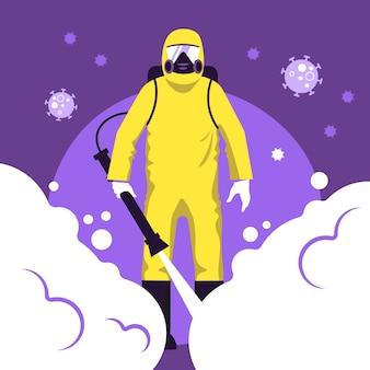 Desinfecção por vírus em design plano