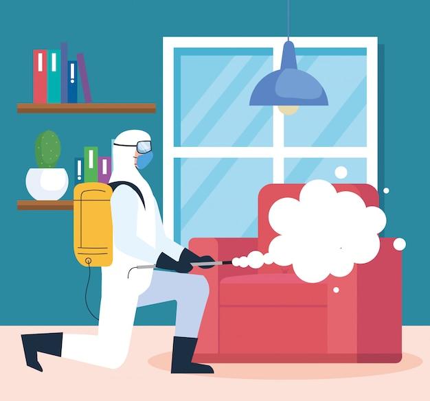 Desinfecção residencial por serviço de desinfecção comercial, trabalhador desinfetante com traje de proteção
