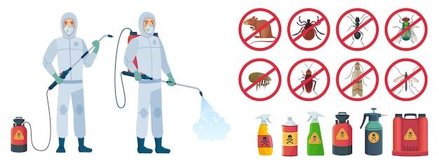 Desinfetador de desenhos animados. personagens desinfetantes em trajes de proteção com frasco spray venenoso. conjunto de ilustração. equipamento de controle de pragas, insetos, venenos químicos
