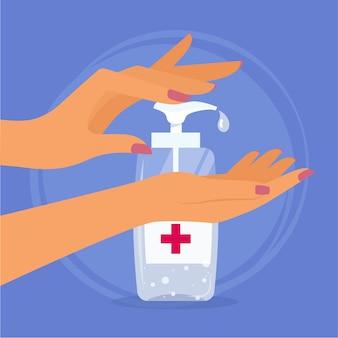 Desinfetante de mãos planas com antibacteriano