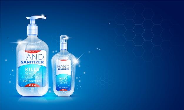 Desinfetante de mãos realista transparente Vetor Premium