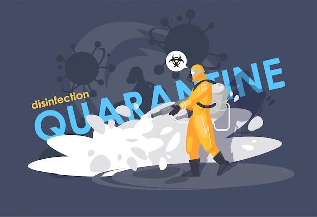 Desinfetante em um traje de proteção química. proteção contra vírus. perigo biológico. coronavírus.