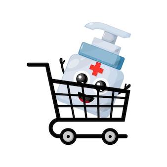 Desinfetante para as mãos, carrinho de compras, logotipo do personagem mascote