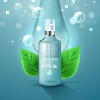 Desinfetante para as mãos com bolhas e folhas