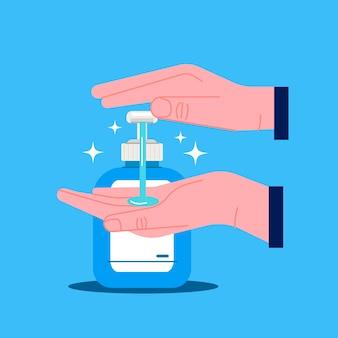 Desinfetante para as mãos com design plano ilustrado