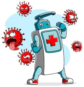 Desinfetante para as mãos combate o coronavírus covid 19