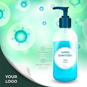 Desinfetante para as mãos contra anúncio de vírus