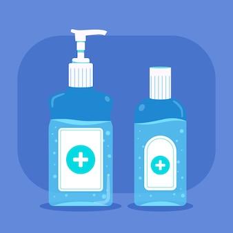 Desinfetante para as mãos em design plano