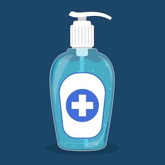 Desinfetante para as mãos garrafa gel design plano