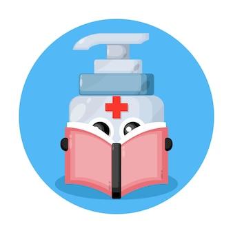 Desinfetante para as mãos lendo um livro com logotipo de personagem fofo