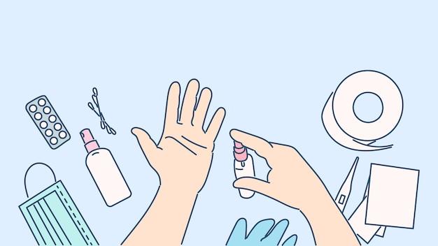 Desinfetante para as mãos para prevenir vírus e infecções