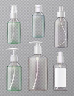 Desinfetante para as mãos, prensa de acrílico transparente e frascos de spray aerossol, conjunto realista