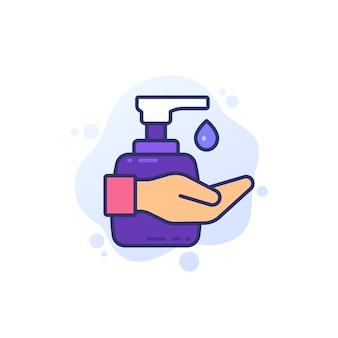 Desinfetante para as mãos, use ícone de gel anti-séptico
