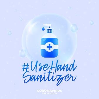 Desinfetante para as mãos uso futurista durante o conceito de surto de coronavírus. doença de covid-19 de prevenção de conceito com células de vírus, bola realista brilhante sobre fundo azul
