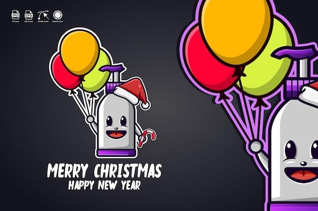 Desinfetante para mãos carregue balões feliz natal mascote fofo logo design de personagem