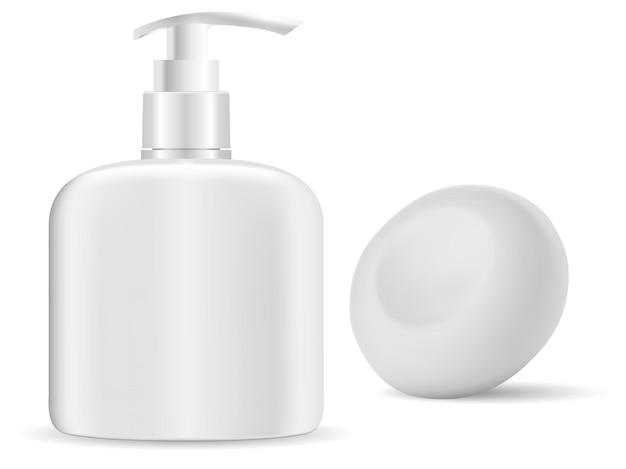 Desinfetar a garrafa com as mãos. dispensador de sabão, recipiente de gel líquido. barra de sabão sólido, ilustração 3d isolada.