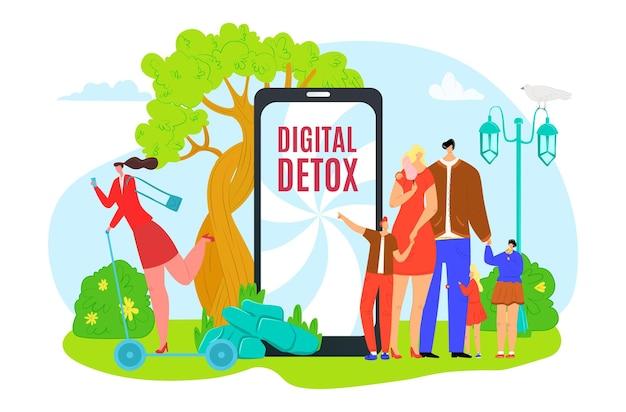 Desintoxicação digital deixar ilustração vetorial de tecnologia de internet minúsculo liso homem mulher personagem parar de usar ...