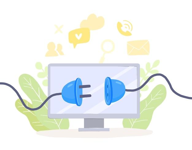 Desintoxicação digital, tela de monitor com tomada não bloqueada. livre de smartphones, mídias sociais e internet. desconectar dispositivos offline