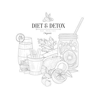Desintoxicação e dieta comida fresca bebida esboço realista desenhado de mão