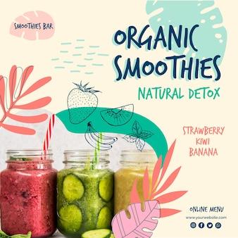 Desintoxicação natural do smoothie orgânico panfleto quadrado