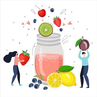 Desintoxicação smoothie de frutas rosa. pessoas pequenas fazem um coquetel saudável. ilustração vetorial brilhante no estilo cartoon.