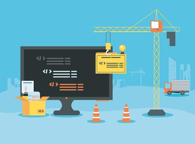 Desktop com página da web em construção