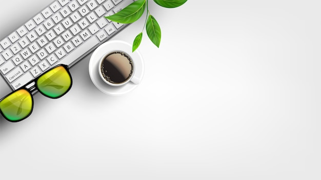 Desktop de escritório em casa branca com lay flat