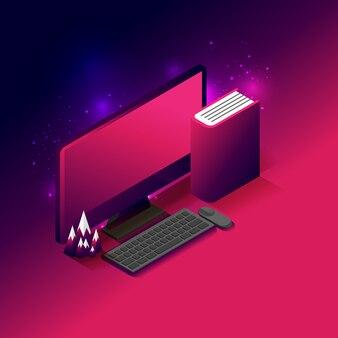 Desktop do computador, livro e lugar do modelo da montanha no fundo azul e rosa escuro do inclinação com espaço da cópia para o texto