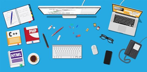 Desktop do programador ou codificador