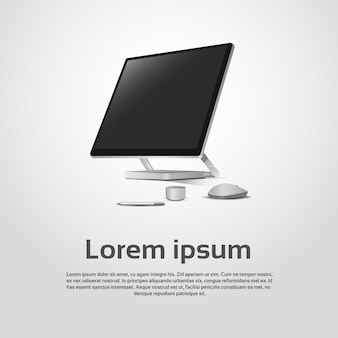 Desktop logo modern computer workstation ícone ilustração vetorial