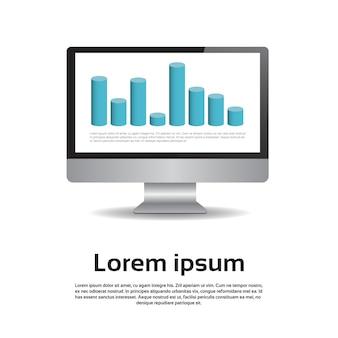 Desktop monitor workstation gráfico definir finanças diagrama infográfico gráfico financeiro vector illustratio