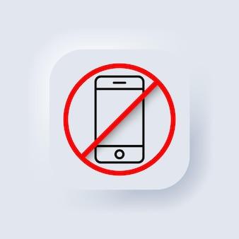 Desligue o telefone. nenhum ícone de telefone. vetor. sem falar e chamar sinal. telefone de proibição. botão da web da interface de usuário branco neumorphic ui ux. neumorfismo. vetor eps 10