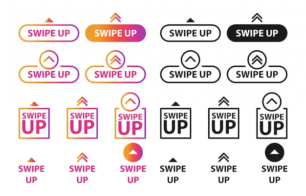 Deslize para cima, conjunto de botões para mídias sociais.