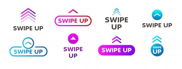 Deslize para cima e conjunto de botões de gradiente coloridos para mídias sociais isolados no branco