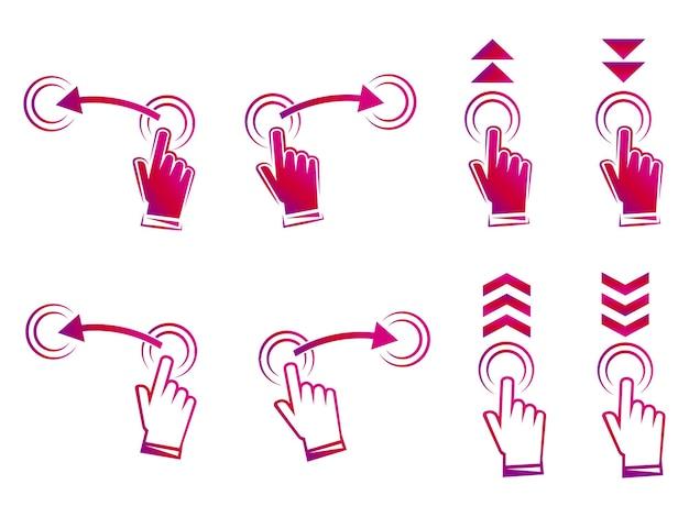 Deslize para cima. golpe de mão. conjunto de símbolos para mídias sociais. conjunto de gradiente deslize o sinal para o blogueiro de design de histórias, pictograma de rolagem. role ou deslize para cima. ver mais ícone, pictograma de rolagem