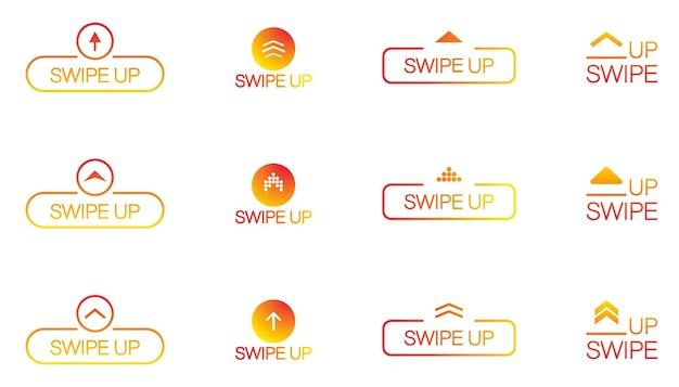 Deslize para cima, seta para cima, conjunto de ícones de pictograma de rolagem. seta para cima para aplicativos de mídia social e histórias de mídia social. deslize para cima para ver o design da interface do usuário da web do blogger