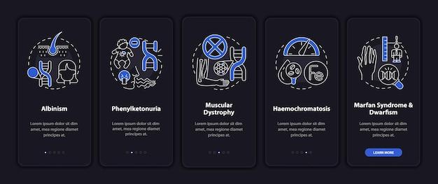 Desordens genéticas mais comuns na tela da página do aplicativo móvel com conceitos