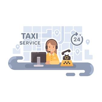Despachante de táxi em sua mesa.