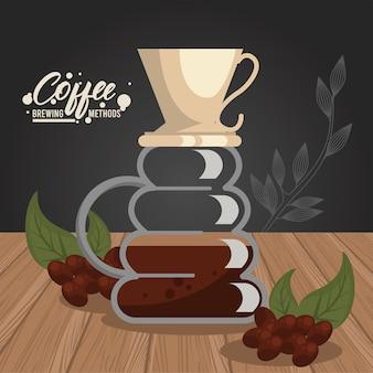 Despeje sobre o método de preparação do café