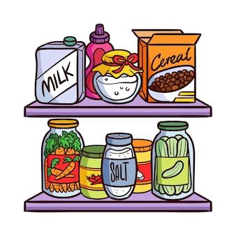 Despensa desenhada à mão com embalagem de alimentos diferentes