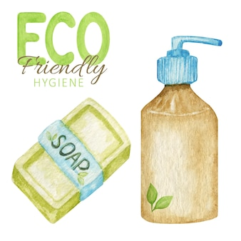 Desperdício zero de acessórios de banheiro, sabonete sólido natural e barras de xampu. produtos de higiene ecológicos isolados.