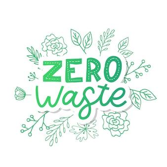 Desperdício zero. lettering text eco green illustration.
