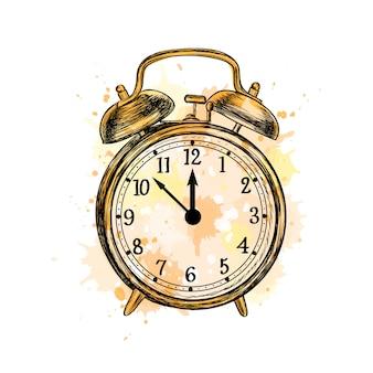 Despertador analógico estilo vintage clássico de um toque de aquarela