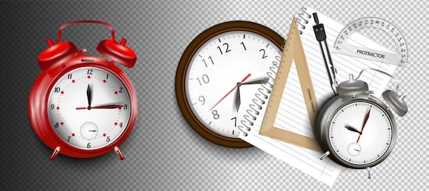 Despertador azul realista, ilustração vetorial